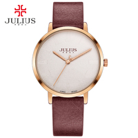 Julius simple ultra thin unisex watch leather strap fashion brand logo silver rose gold watch clock JA 953