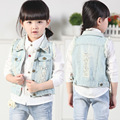 Baby Girls Vest Outwears Plain Hollow-out Pearl Pockets Buttons Denim Vest Autumn Kids Clothing Children Clothes 2017 Fall NEW