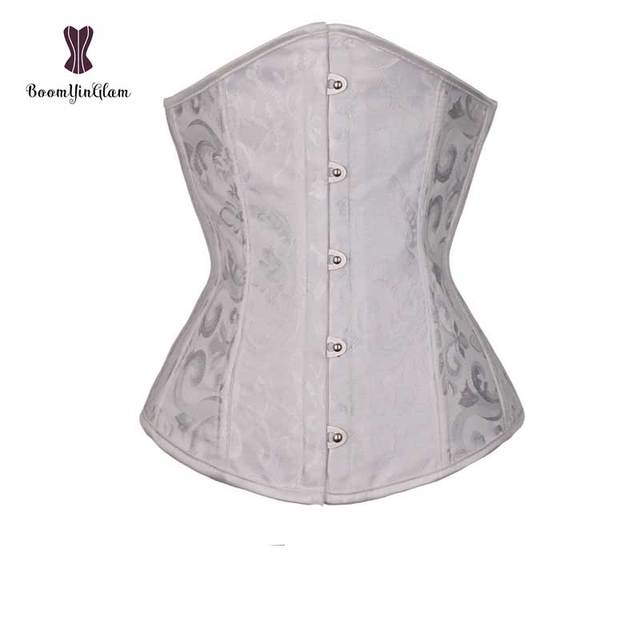 dc5b83276d Steel Boned Underbust Gothic Corset Top Summer Outwear Corselet Floral  Front Buckle Bustier White Black Sky