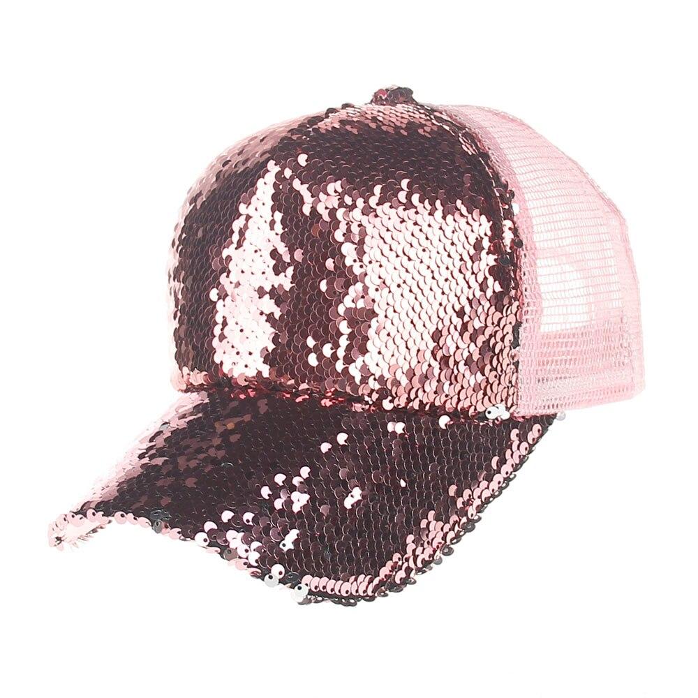 2017 Frauen Mädchen Baseball Hüte Pailletten Paillette Bling Shinning Mesh Baseballmütze Markante Recht Justierbaren Erwachsene Partei Club Hut Zur Verbesserung Der Durchblutung