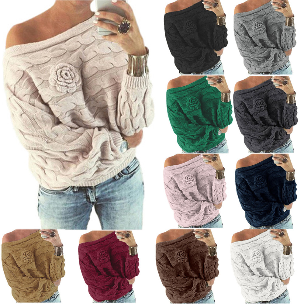 Off Shoulder Multicolor Knitted Sweater Women Sexy Autumn Sweater Female Pullover Women Bat Sleeve Loose Knitting Jumper Top