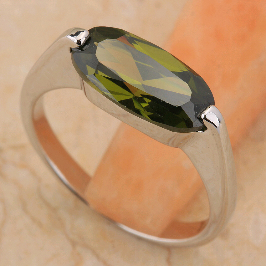 Unpriced Olivine Peridot 6*12mm Semi precious Stone Silver Cool For Women Ring T6521