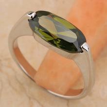 Unpriced Olivine Peridot 6*12mm Semi-precious Stone Silver Cool For Women Ring T6521