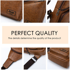 Image 5 - JEEPBULUO Brand Men Sling Bags 2Pcs/Set Leather Chest Bag For College Students Fashion Casual Mens Bags Crossbody Bag Conductor