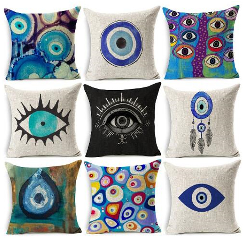 Evil Eye  Mediterranean And Asian Tribes Culture   Decorative Beige Linen Pillow Case