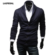 LASPERAL 2017 New Autumn Retro V-Neck Knitwear Cardigan Shirt Men Sweaters Single Breasted Slim Fit Fashion Casual Tops XL