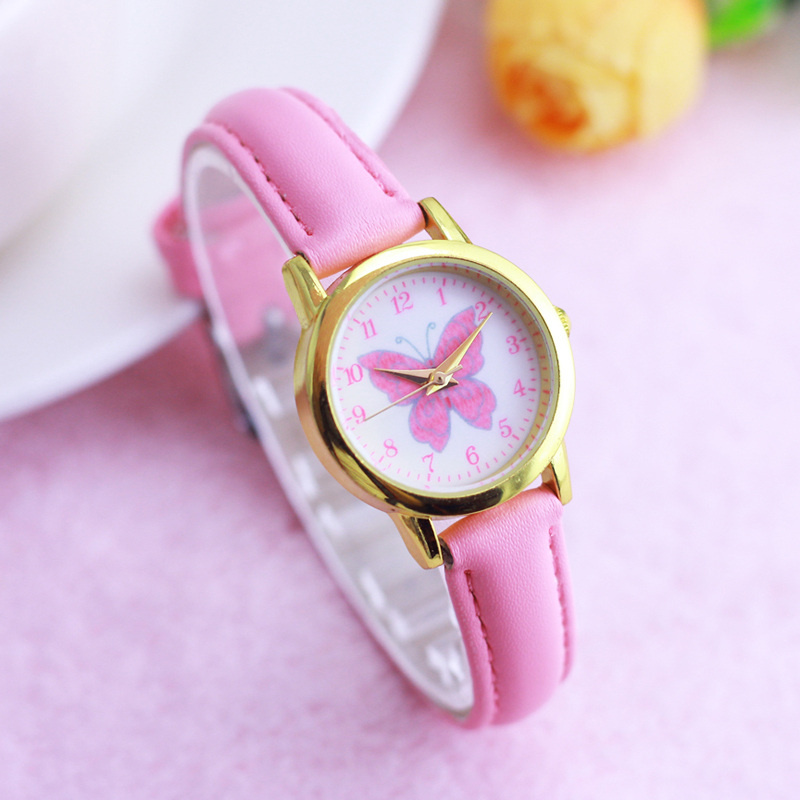 Lovely Girls Children Butterfly Small Leather Quartz Watches Little Kids Cartoon Cute Animals Waterproof Wristwatches Clocks