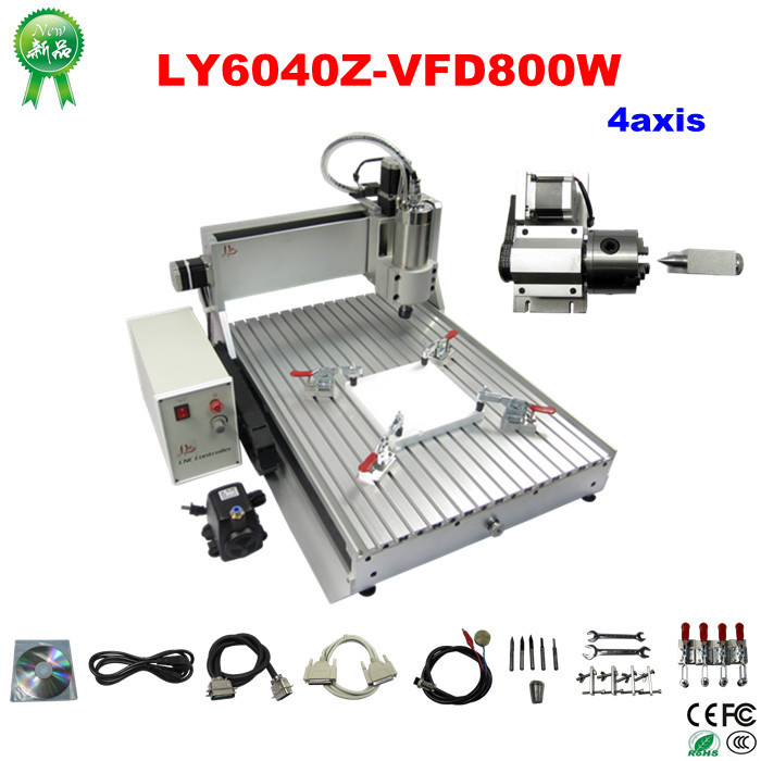 3d sculpture machine LY 6040 Z-VFD woodworking router with 800W spindle for aluminum metal wood, Russia no tax free ship  цены