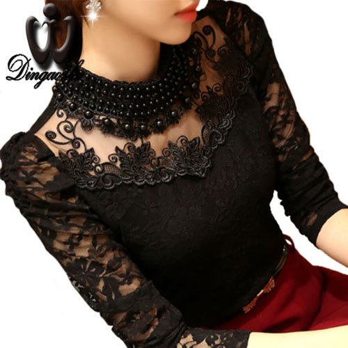 Dingaozlz 5XL Sexy Lace Topper 2018 Blusas Ny Slim Plus Størrelse Blonder Bluse Langermet Casual skjorte beaded openwork Dameklær
