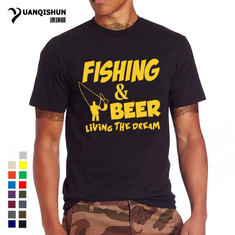 Fishings Camisetas Jogo Fishinger Cerveja Tshirt Impressão Peixes Que Vivem O Sonho Pescador Sporter Voando Fresco T-shirt da Camisa do Presente Do Divertimento