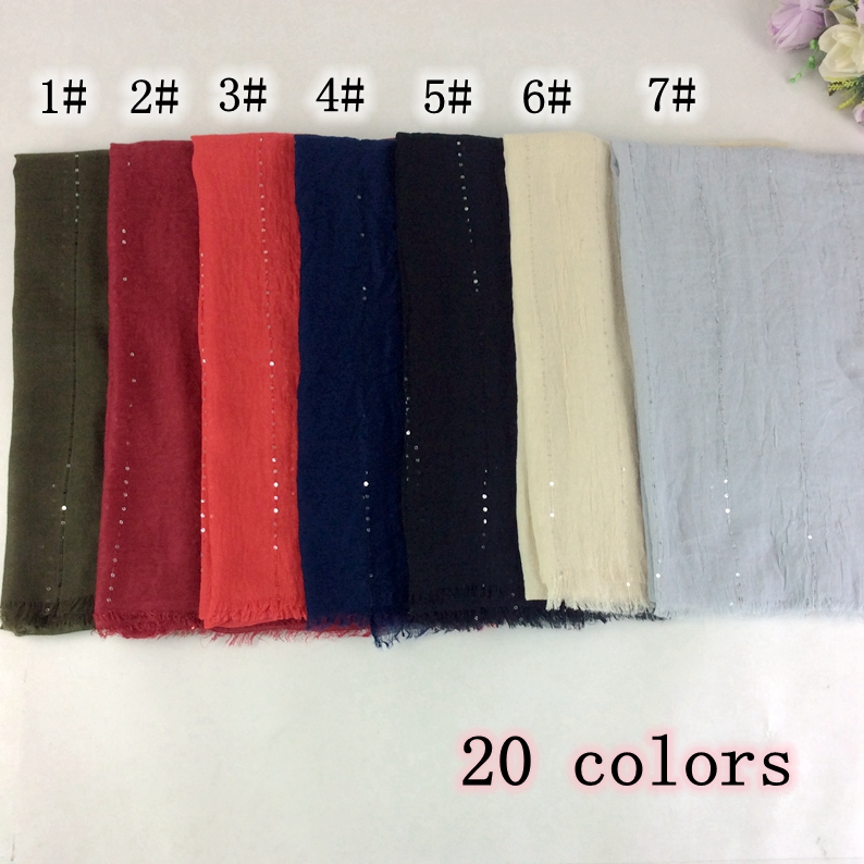 Plain Cotton Viscose   Scarf   Women Glitter Sequins   Scarves   Muslim Hijab Shawls And   Scarves     Wraps   10pcs/lot
