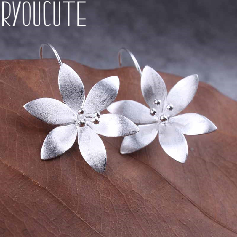Romantic Silver Color  Large Flower Earrings For Women Wedding Long Earrings Statement Jewelry Female Party Gift Brincos