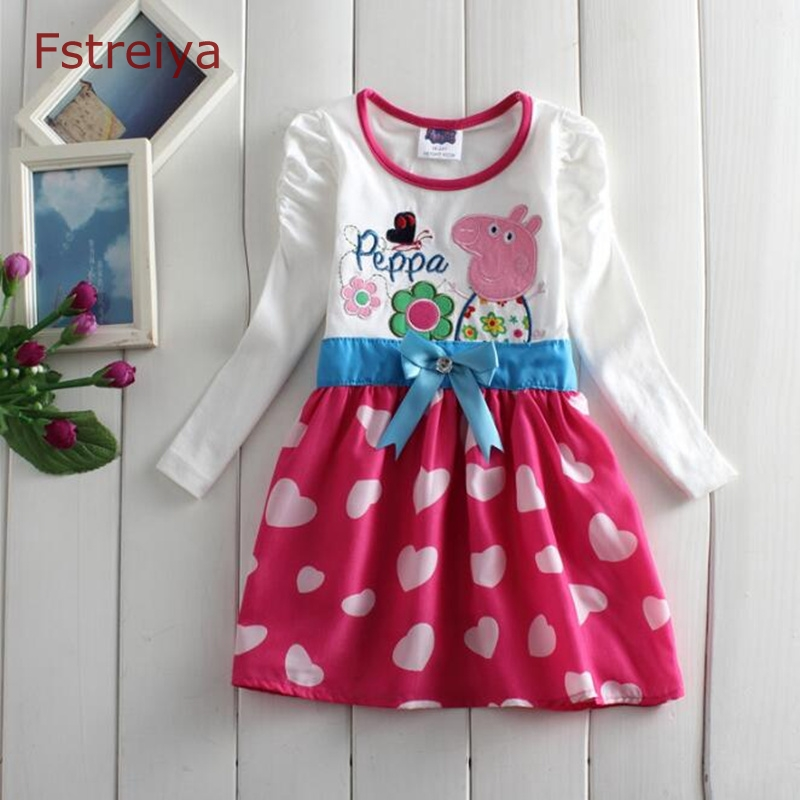 Spring girl beach floral dresses Baby peppa pig princess dress 2018 kids casual a-line dress toddler costume children clothes spring new princess kids toddler girl denim dress kid little girl suspender dress baby clothes mermaid dress free drop shipping
