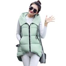 Winter Women Vest Long Waistcoat 2016 New Down Cotton Padded Hooded Warm Women's Sleeveless Vest Jacket Female
