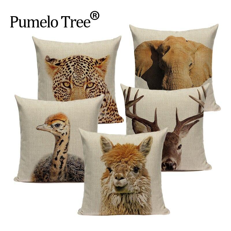 High Quality  Animal Series Cushion Cover Home Decor Cushions Custom Throw Pillows Tiger Elephant Monkey Pillow Cover For Car