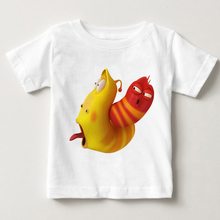 цена animation larva Funny cartoon t shirt baby summer O-Neck Stinky insects tops Modal child T-shirt boy and girl summer T-shirt MJ