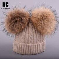 [Rancyword] Kids Winter Knit Mutsen Cap Met Echt Bont Bal Hoeden voor Kinderen Pom poms Leuke Baby Skullies 1-6 Oude Jaar RC1247