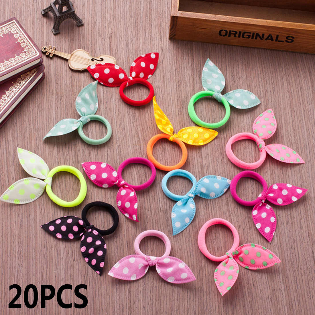 20pcs/set Rabbit ears Hair band Children kids Hair Accessories Scrunchies Elastic Hair Band for women girl rubber band