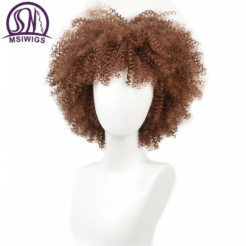 MSIWIGS Synthetic Curly Wig For Black Women Natural Brown Color Ombre Hair Soft Short Afro Wigs With Bangs Two Models
