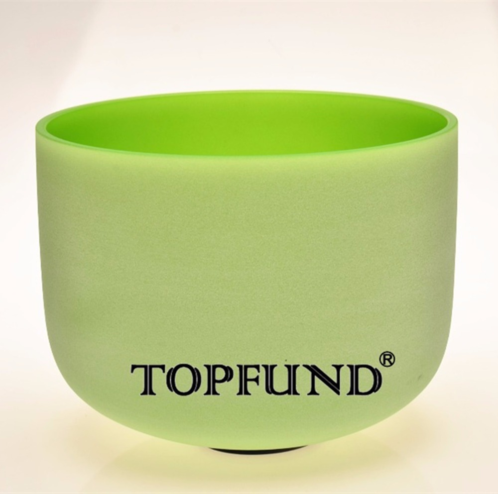 TOPFUND Frosted Quartz Crystal Singing Bowl Green Colored F# Thymus Chakra 12 With Free Mallet and O-Ring topfund red color perfect pitch c adrenals chakra frosted quartz crystal singing bowl 10 with free mallet and o ring