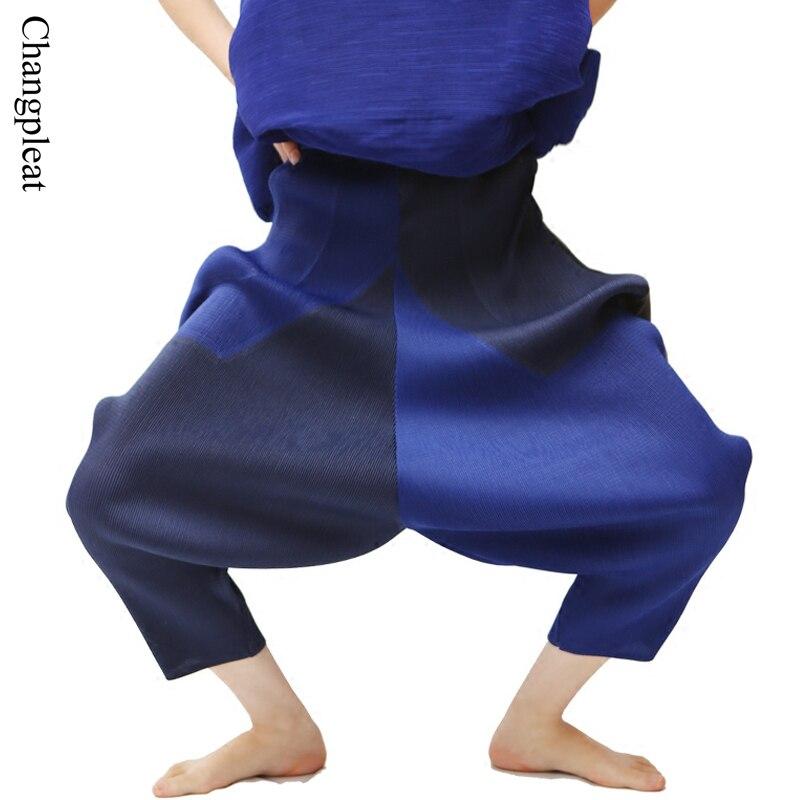 Changpleat 2017 Dámské Haren kalhoty Miyak Plisovaný vysoký pas Nadměrné kalhoty volné elastické pas nové Dámské kalhoty Plus Size Female