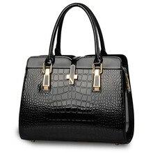 Крокодил зерна девушку сумка 2016 новых ярких лакированной кожи — класс сумки Euramerican стиль леди мешок основной