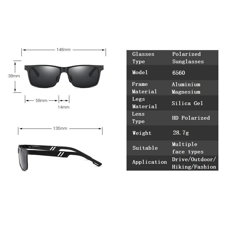 Image 5 - YSO Sunglasses Men Polarized Aluminum Magnesium Frame Sun Glasses Driving Glasses Square Goggle Eyewear Accessories For Men 6560Mens Sunglasses   -