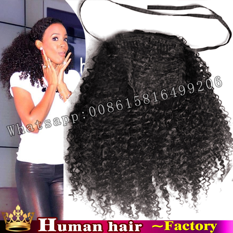 100 Brazilian Clip In Human Ponytail Hair Extensions Kinky Curly