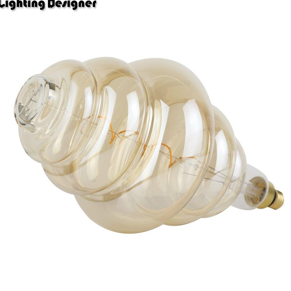 Grande taille ampoule dimmable Edison ampoule E27 doux LED Filament Vintage lampe à LED grand hamburger décor ampoule 6 W 220 V lumière blanc chaud - 3