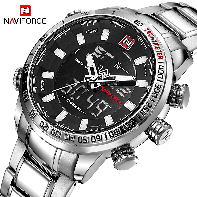 NAVIFORCE Top marca hombres relojes deportivos militares Mens LED Digital Analog reloj inoxidable del ejército reloj de cuarzo Relogio Masculino