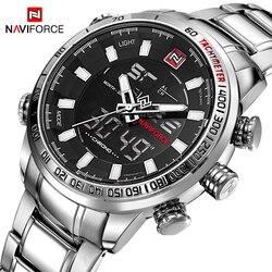 Naviforce marca superior dos homens militar relógios do esporte dos homens led analógico relógio digital masculino exército inoxidável relógio de quartzo relogio masculino