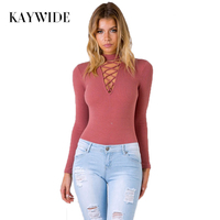 Kaywide Halter Lace Up Women Bodysuits Autumn Winter Slim Knitted Sweater Pullover Black Long Sleeve Jumpsuit