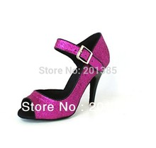 Wholesale New Ladies Pink Glitter Ballroom LATIN SALSA Tango Dance Shoes Heels Bachata Dance Shoes Suede Sole for Ballroom