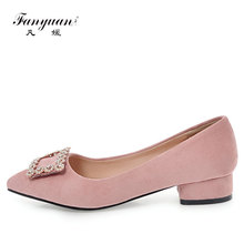 Fanyuan 2018 new chunky low heels spring women pumps sexy pointed toe office lady Crystal Square buckle Girl shoes size 34-43