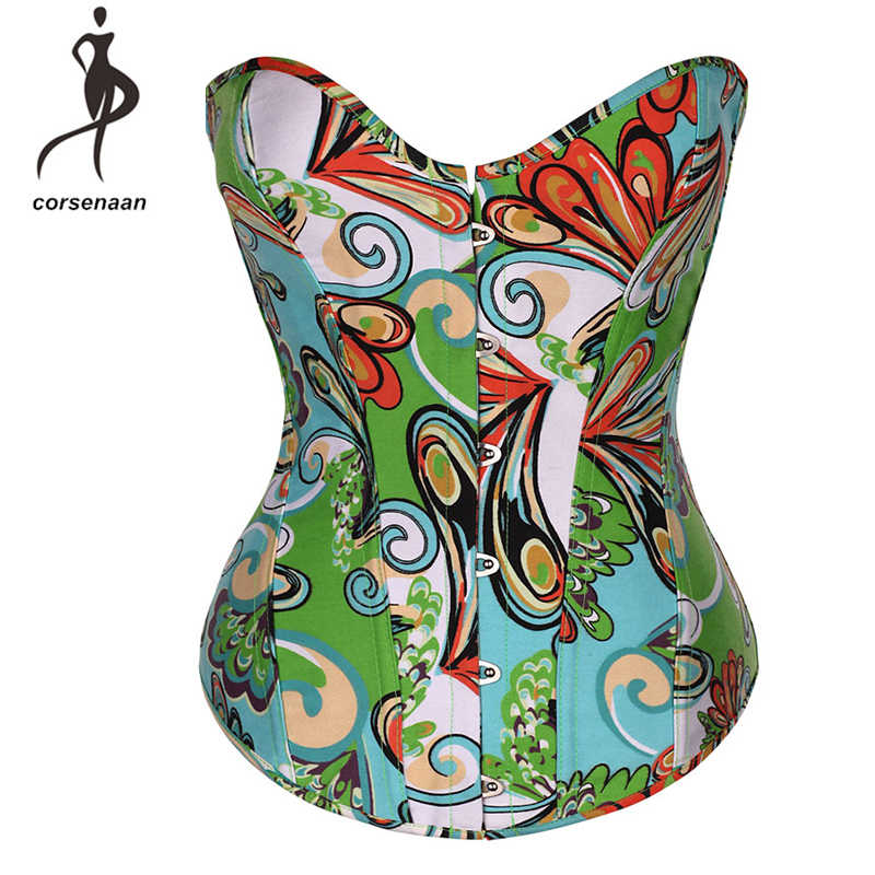 95331b49441 Retro Spandex Women Underwear Lingerie Floral Printed Sexy Bustier Corset  Red Green Blue Corsets Top Size