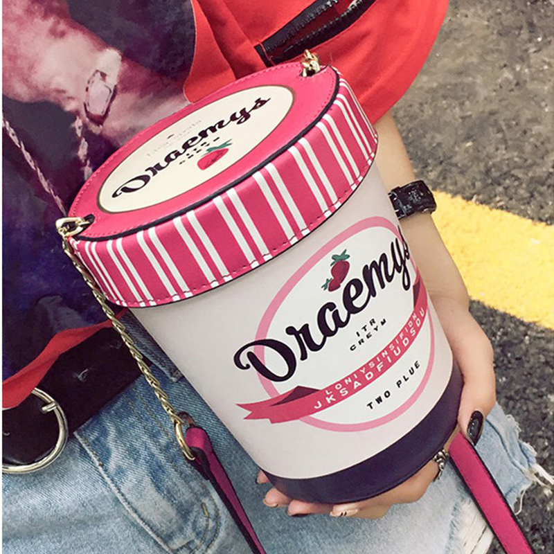 New ice cream cup design women handbag pink bucket bag ladies shoulder bag casual female chain crossbody messenger bag purse 339 fashion new design pu leather lotus wave female chain purse shoulder bag handbag ladies crossbody messenger bag women s flap