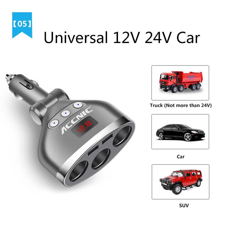 Accnic 5V 3.4A Dual USB 3 Way Car Cigarette Lighter Splitter Socket Adapter 120W LED Voltage Monitor Auto Car USB Plug Converter