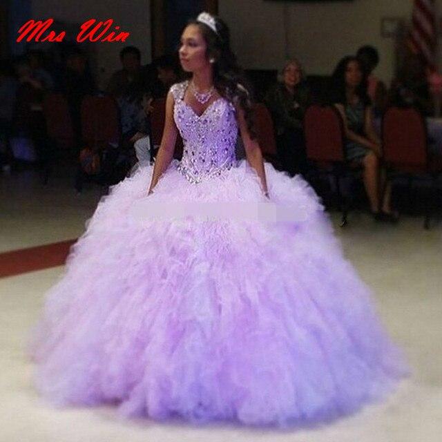 9df6e2abdd Romantic Lilac Quinceanera Dress 2019 Fluffy Tulle Sweet 16 Dresses Ball  Gown Cap Sleeve Girls Debutante Dress Vestido de 15 nos