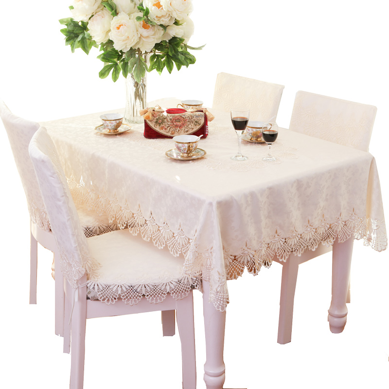 Table Cloth Square Rectangle Oval Tablecloth TV Cover Decorative Hood Satin Jacquard Lace 55 x 55 145 x 215 150 x 250cm White