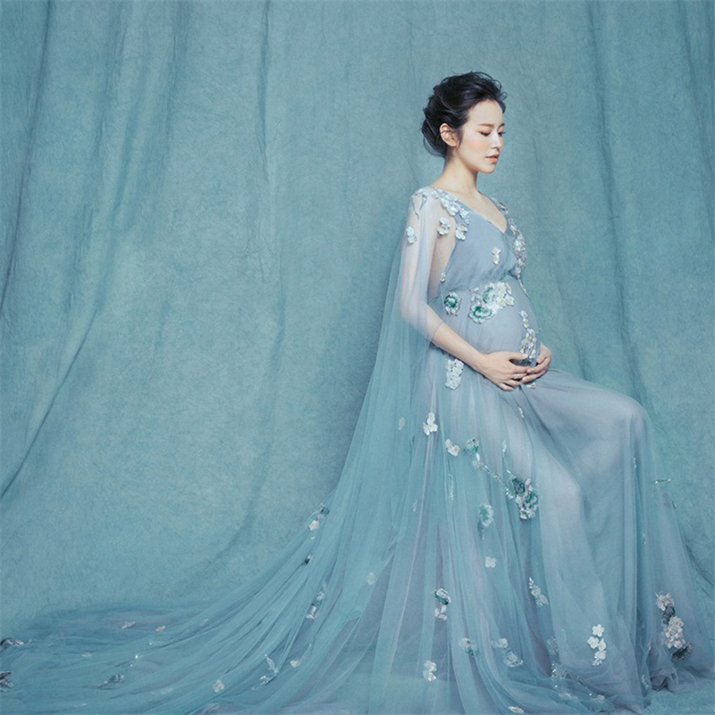 Princess Maternity dress 2018 Maternity Clothes Photography Props Maternity Flower Appliques Dress Voile Summer Pregnant DressPrincess Maternity dress 2018 Maternity Clothes Photography Props Maternity Flower Appliques Dress Voile Summer Pregnant Dress
