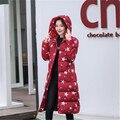 Impressão das mulheres jackete para baixo extremo inverno plus size casaco de roupas quentes casaco longo parkas com capuz feminino amassado mujer MZ905