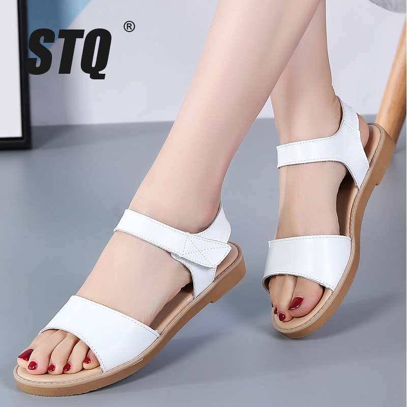 STQ Flat Sandals Ankle-Strap Genuine-Leather Female Slingback White 324