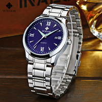 WWOOR Luxury Brand Sport Mens Watches Auto Date Stainless Steel Hour Meter Back Light Men's Casual Quartz Dress Watch Wrist Watc
