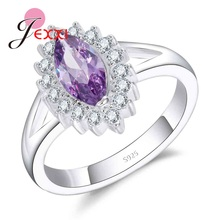 JEXXI Purple 925 Sterling Silver Promise Rings Exquisite Unique Flower Design With   Luxury Crystal Cocktail Party Jewelry