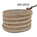 Aliexpress HOT SELL Hand style Leather Bracelets,  sliver  chain  weave bracelets & bangles  mens Jewelry JBN-8919