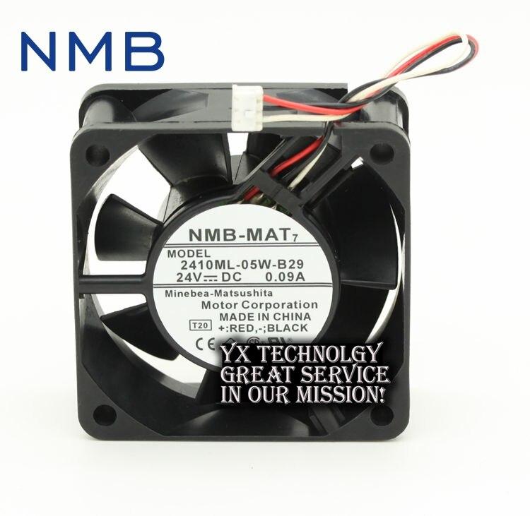 NMB Original 2410ML-05W-B29 6025 6CM 24V 0.09A high stall warning double ball bearing fan  60 * 60 * 25MM