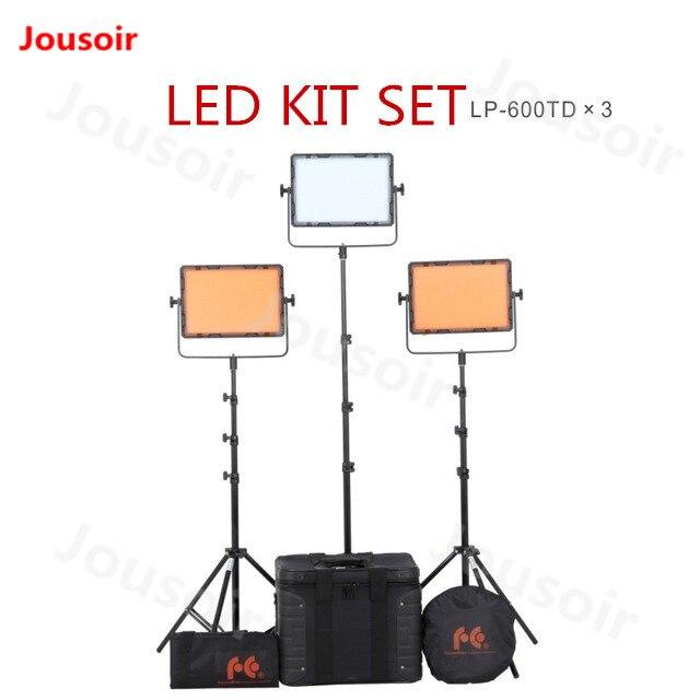 FalconEyes DV-600kit 3 pcs/lot 600 pièces 36 W 3200/5600 K LED panneau pour la photographie avec support de lumière sac réflecteur conseil kit CD50 T06