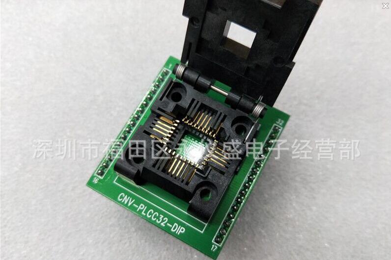 CNV-PLCC32-DIP Original PLCC32 (flip) test socket электронные запчасти 2 x soic 28 dip 28 smd
