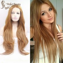 Fake Honey Blonde Lace Front Wig Heat Resistant Long Blonde Straight Wig Noble Gold Synthetic Hair Cosplay Feminino Wig