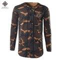 2016 Hombres de Camuflaje de La Vendimia T Camisas Camisa Masculina de Los Hombres Causales moda Slim Fit O Cuello de Manga Larga de Las Camisetas de Los Chándales masculino